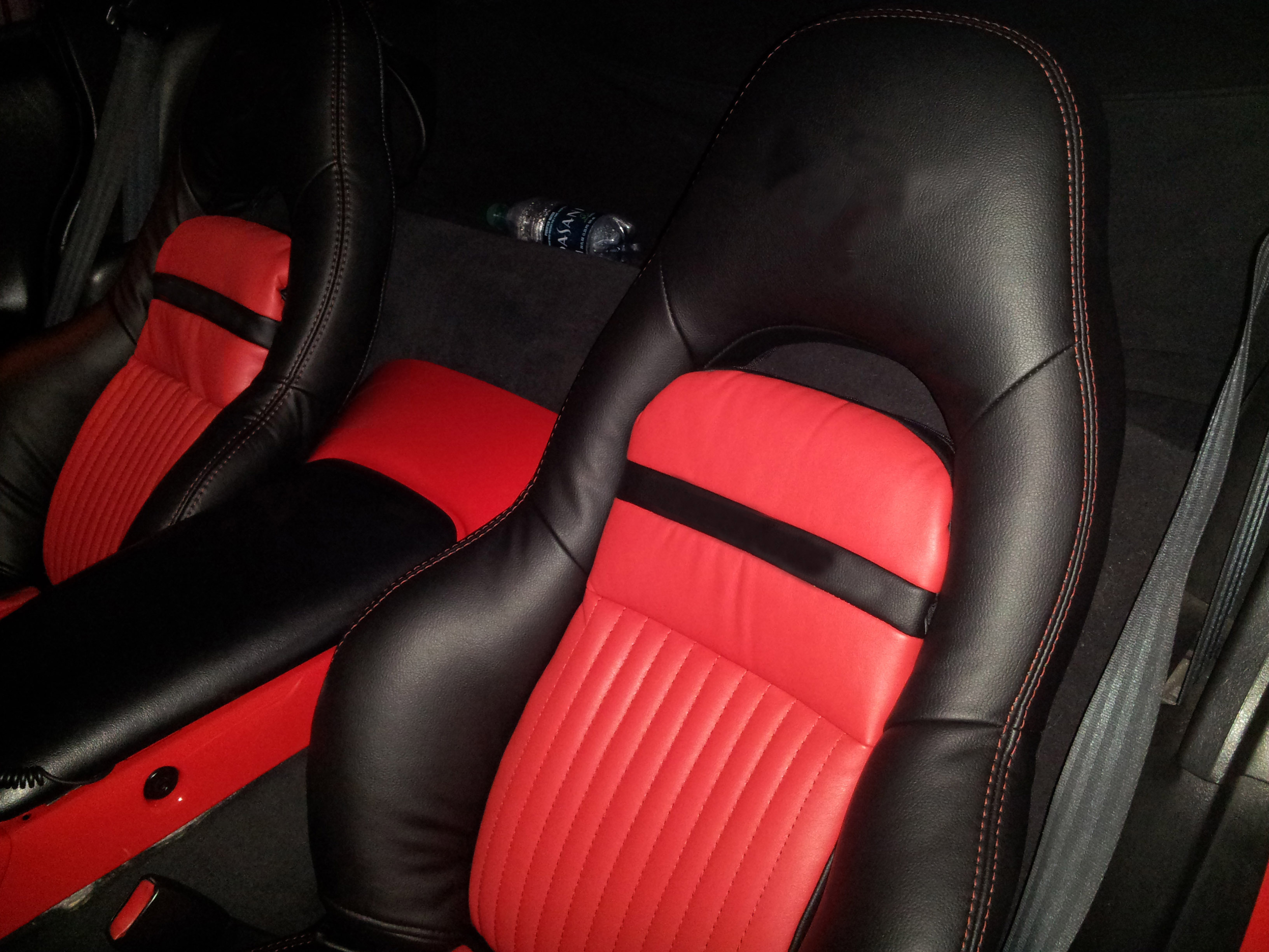 1997 2004 C5 Corvette Synthetic Leather Seat Covers Black Red