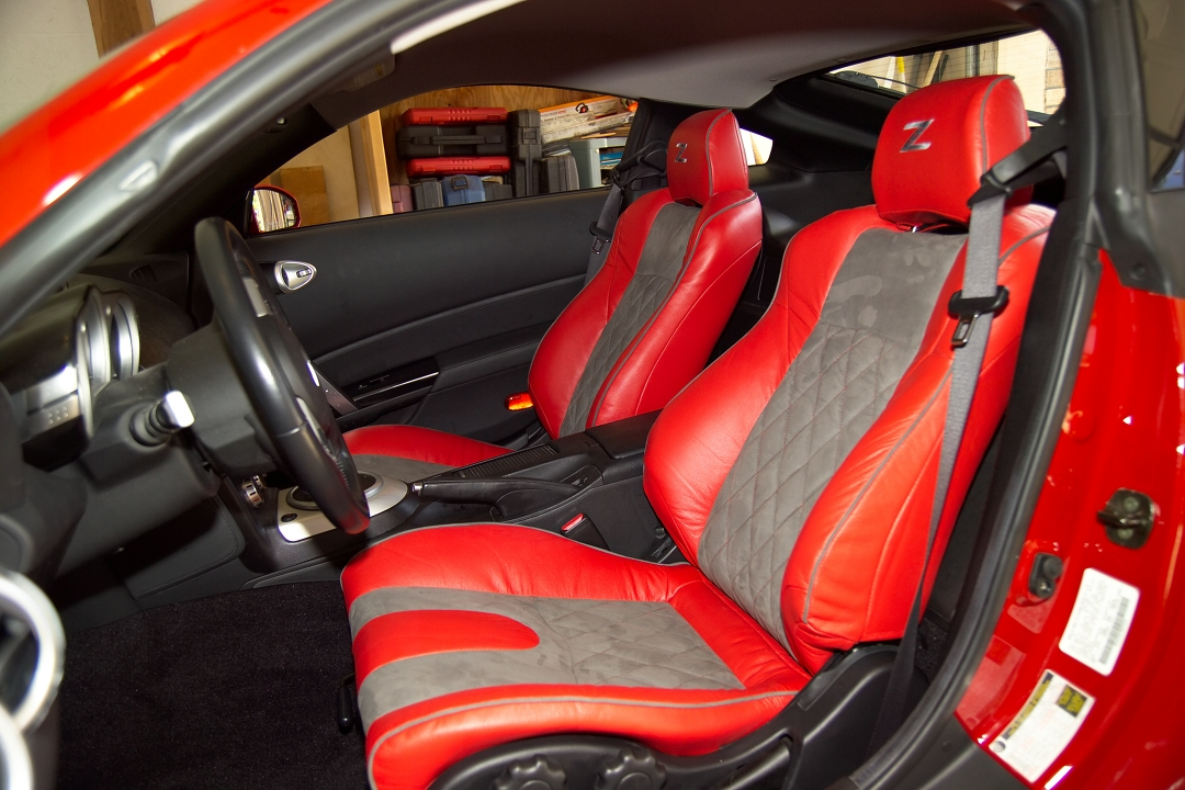 2002 2008 nissan 350z genuine leather nova suede diamond stitched red grey interior innovation. Black Bedroom Furniture Sets. Home Design Ideas