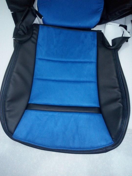 C6 Sport Standard Style Seat Covers Black Blue Nova Suede
